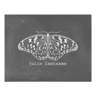 Chalk Inspired Butterfly Flat Notecards Invite