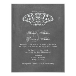 Chalk Inspired Butterfly Wedding Invite