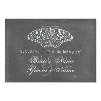 "Chalk Inspired Butterfly Wedding RSVP 3.5"" X 5"" Invitation Card"