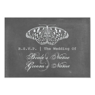 Chalk Inspired Butterfly Wedding RSVP Card