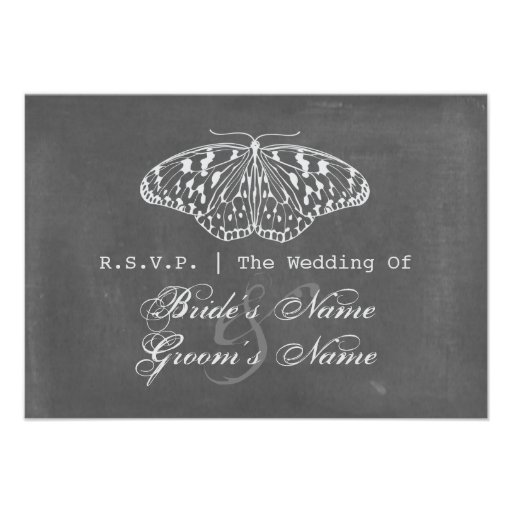 Chalk Inspired Butterfly Wedding RSVP Custom Announcements