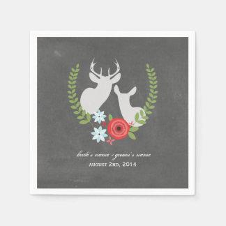 Chalk Inspired Deer Wedding Napkins