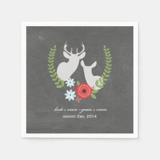 Chalk Inspired Deer Wedding Napkins Disposable Napkin