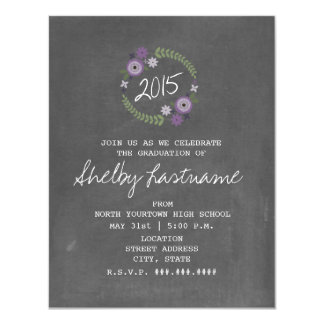 "Chalk Inspired Purple Floral 2015 Photo Graduation 4.25"" X 5.5"" Invitation Card"