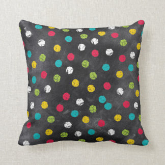 Chalk It Up! Rainbow Polka Dots – Chalkboard Print Throw Pillow