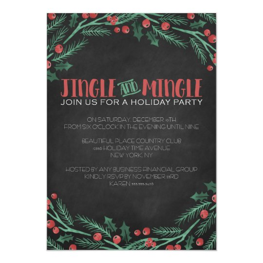 Chalk Jingle and Mingle Holiday Party Invitations