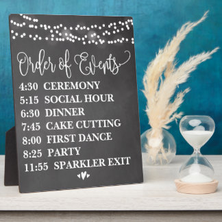 Chalk Lights Order of Events Wedding Sign Plaque