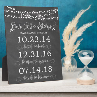 Chalk Lights Our Love Story Timeline Wedding Decor Plaque