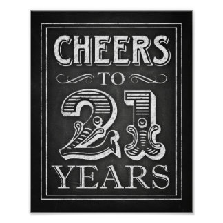 Chalk Style CHEERS TO 21 YEARS Sign Print