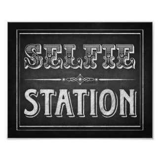 Chalk Style SELFIE STATION Sign Print