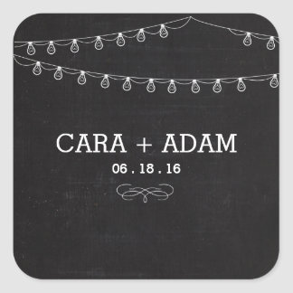 Chalk Style String Lights Wedding Sticker