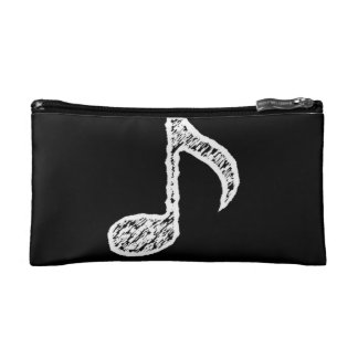 Chalk White Music Note Cosmetic Bag