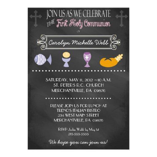 Chalkboard 1st Communion Invitation for a Girl