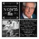 """Chalkboard 80th Birthday Square Photo Invitation 5.25"""" Square Invitation Card"""