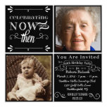 """Chalkboard 90th Birthday Square Photo Invitation 5.25"""" Square Invitation Card"""