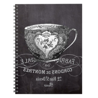 Chalkboard Alice in Wonderland tea party teacup Notebooks