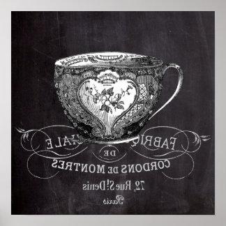 Chalkboard Alice in Wonderland tea party teacup Poster