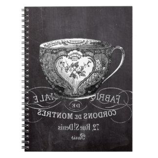 Chalkboard Alice in Wonderland tea party teacup Spiral Notebook