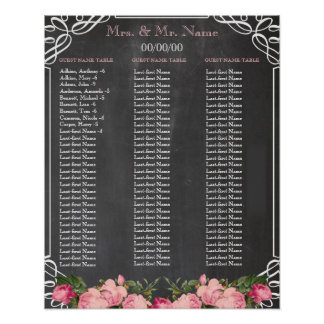 Chalkboard Alphabetical seating chart Poster