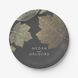 Chalkboard and Gold Fall Leaves Wedding Paper Plate