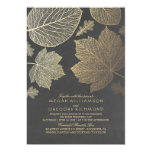 """Chalkboard and Gold Leaves Vintage Fall Wedding 5"""" X 7"""" Invitation Card"""
