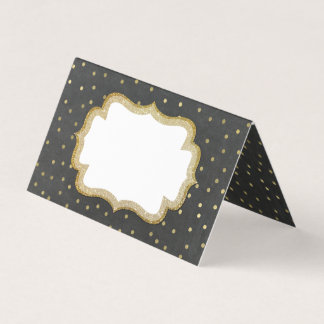 Chalkboard and Gold Wedding Folded Place Card