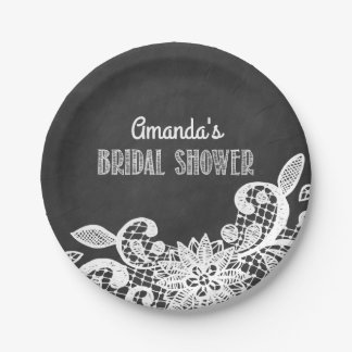 Chalkboard and Lace Bridal Shower Party Plates
