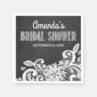 Chalkboard and Lace Rustic Bridal Shower Napkins Paper Napkin