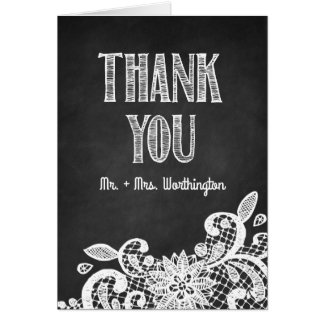 Chalkboard and Lace Rustic Wedding Thank You Cards