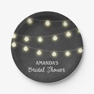 Chalkboard and Lights Bridal Shower Party Plates 7 Inch Paper Plate