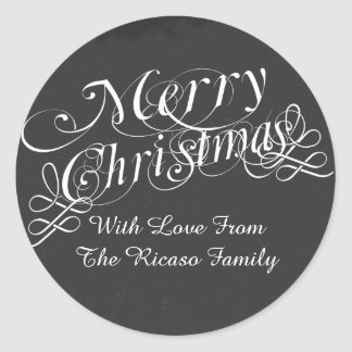 Chalkboard And Scroll Font Merry Christmas Custom Round Sticker