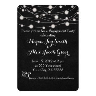 Chalkboard and String Lights Engagement Party Card