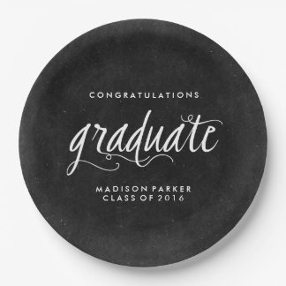 Chalkboard and Trendy Calligraphy Graduation Paper Plate