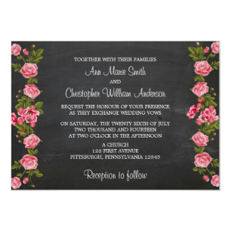 Chalkboard and Vintage Flower Wedding Invitation