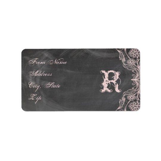 Chalkboard Antique Pink Floral Monogram Address