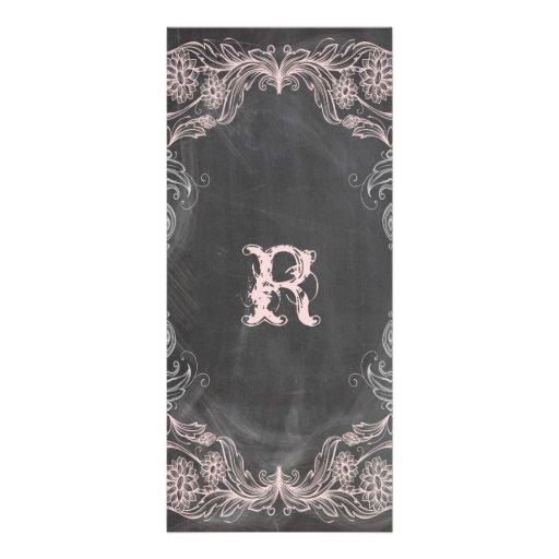 Chalkboard Antique Pink Floral  Program Rack Card