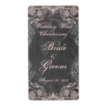 Chalkboard Antique Pink Floral  Wedding Wine Label Custom Shipping Label