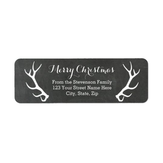 Chalkboard Antlers Vintage Return Address Labels