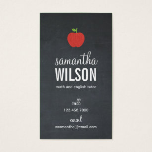 Teacher business cards business card printing zazzle ca chalkboard apple teacher business card reheart Gallery