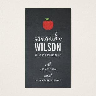 Teacher business cards business card printing zazzle ca chalkboard apple teacher business card reheart Choice Image
