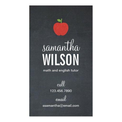 Chalkboard Apple Teacher Business Card - Groupon Business Card Templates