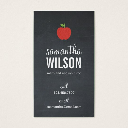 Chalkboard Apple Teacher Business Card Groupon