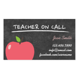 Chalkboard & Apple Teacher on Call Business Cards