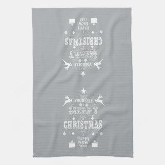 Chalkboard art Christmas tree kitchen towel