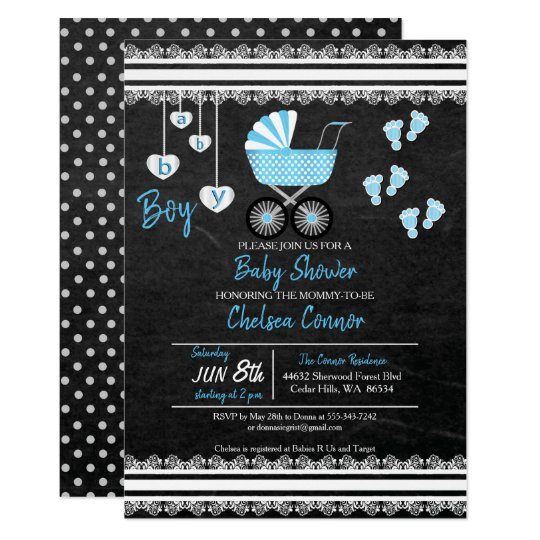 Chalkboard Baby Boy Shower Design Card