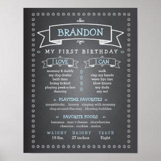 Chalkboard Baby First Birthday Milestone Board Poster