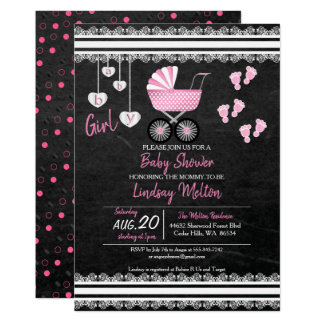 Chalkboard Baby Girl Shower Design Card