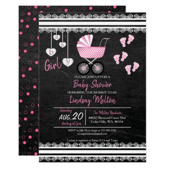 Chalkboard Baby Girl Shower Design Card