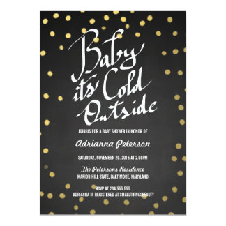 """Chalkboard Baby Its Cold Outside Baby Shower 5"""" X 7"""" Invitation Card"""
