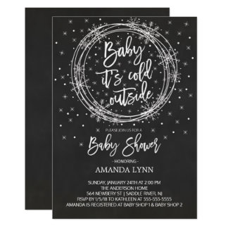 Chalkboard Baby It's Cold Outside Baby Shower Card
